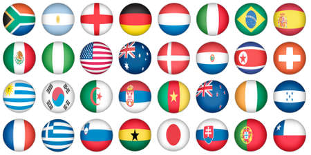oval shape: stickers buttons of national flags in oval shape with shine, glow