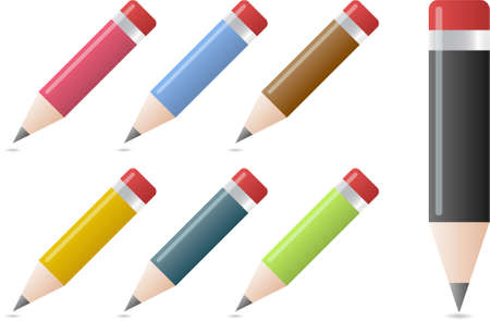 Pencils in different colors with a shadow underneath Stock Vector - 6430426