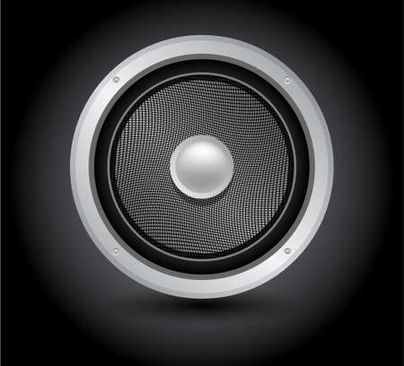 single loudspeaker, acoustic woofer  icon isolated on black Vector