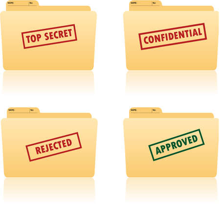 dossier de fichiers avec place pour étiquettes avec top secret, confidentiel, approuvé, textes rejetés sur