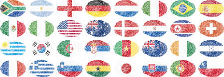 oval shape: national flags in oval shape Illustration