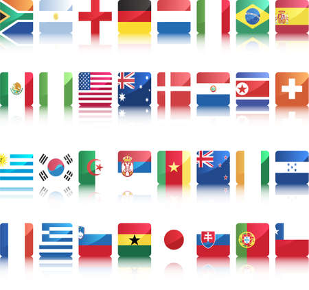 national flags of countries starting with south africa with shine and reflection underneath Vector