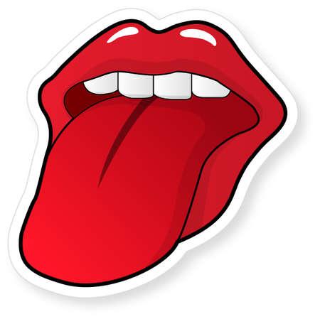 Abra la boca con la lengua  Ilustración de vector