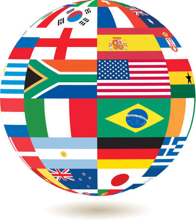 national flags in square shape on a globe photo