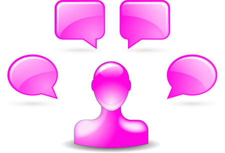 buddy: user comments by buddy icon in pink Illustration