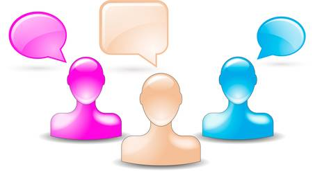 talking buddies in skin color, pink, blue Vector