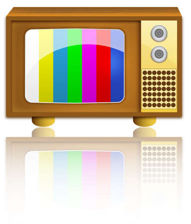 television set on wooden frame and with two button controls  Stock Vector - 6882761