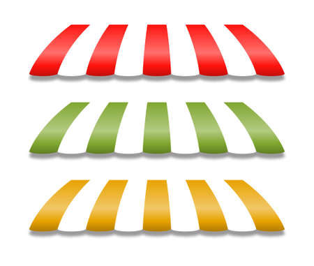 awnings: Storefront Awnings in Yellow Green and Red Illustration