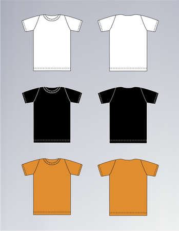 tshirt: White, Black, Orange T-shirt design templates (front & back) Illustration