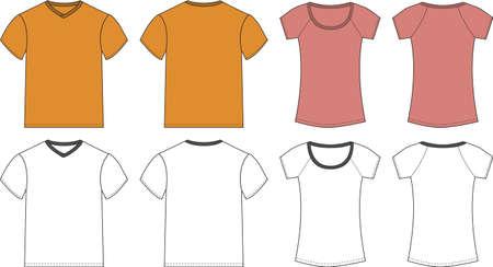 front and back: White, Pink, Orange T-shirt design templates (front & back) Illustration