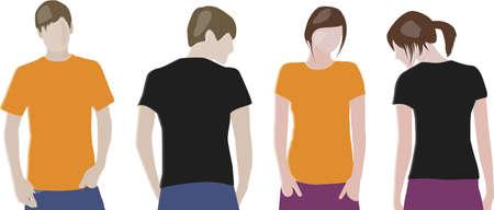 front and back: Black, Orange T-shirt design templates (front & back) on male and female models