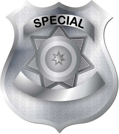 policeman: badge in gray silver color tones with texture ready for various alterations Illustration