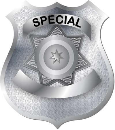 police arrest: badge in toni di grigio argento con texture pronto per varie alterazioni