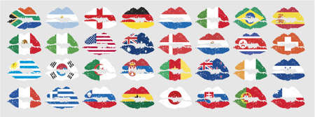 national flags of countries starting with south africa in lip shape with no additional effect photo
