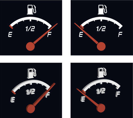 3d illustration of generic fuel meter over dark background Stock Illustration - 6882654