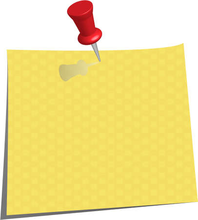pinned note paper, canary yellow  Stock Vector - 6882832