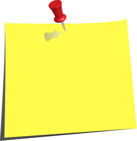 pinned note paper, canary yellow Stock Vector - 6882830
