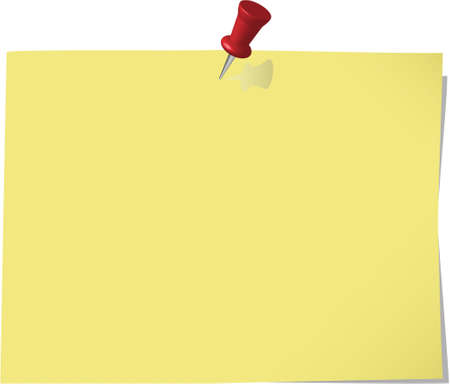 pinned note paper, canary yellow  Stock Vector - 6882844