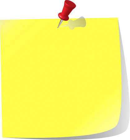 pinned note paper, canary yellow  Stock Vector - 6882831