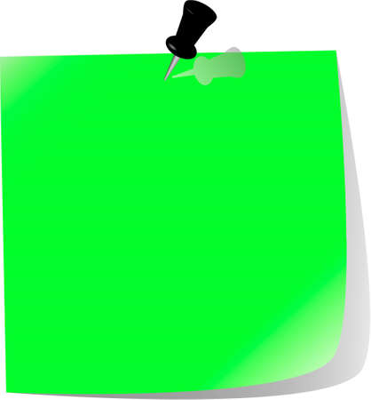 pinned note paper, green Stock Vector - 6876360