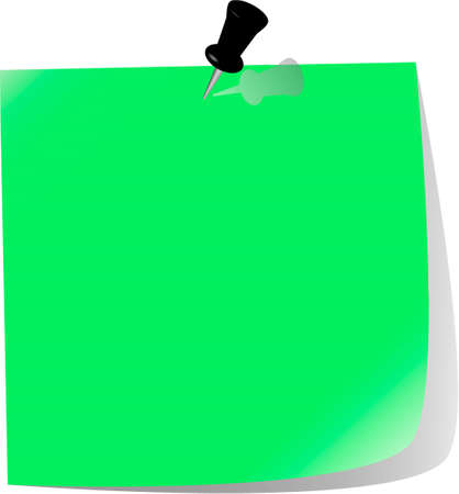 pinned note paper, green Stock Vector - 6882847