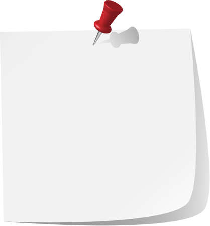 pinned note paper, white Stock Vector - 6882846
