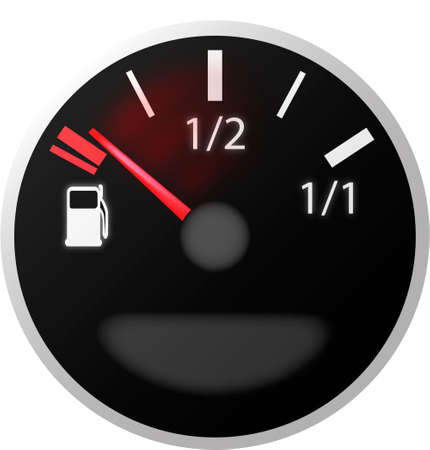 petrol pump: car dash board petrol meter, fuel gauge  Illustration