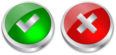 electronic voting: Tick and Cross buttons in green and red colors  Illustration