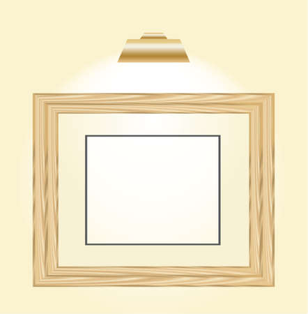 wooden horizontal picture frame with a light top of it Stock Vector - 6882803
