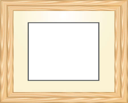 wooden horizontal picture frame in light tones Stock Vector - 6882788