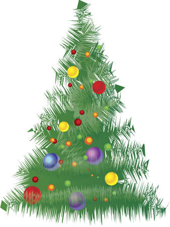 Vector Christmas Tree with green red yellow tones Stock Vector - 6882833