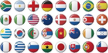 começando: national flags of countries starting with south africa in the shape of a bottle cap Ilustração