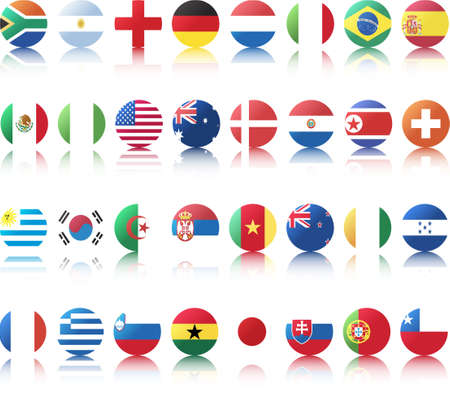 national flags of countries starting with south africa in circular shape with additional shine from top left side and a half opaque reflection underneath Vector