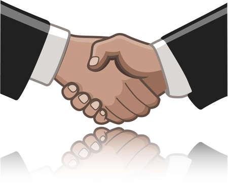 hold hand: Stretta di mano tra due persone isolate su bianco e una riflessione undernath