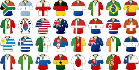 uniforms of national flags participating in world cup with glow Vector