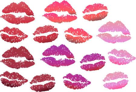pucker: Lip print in red color tones Illustration
