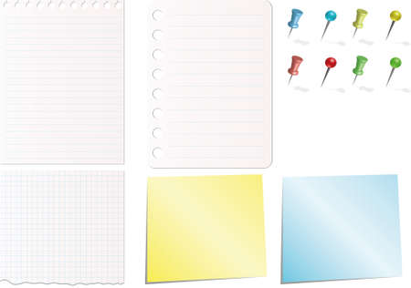 note papers in white blue yellow colors with pins Vector