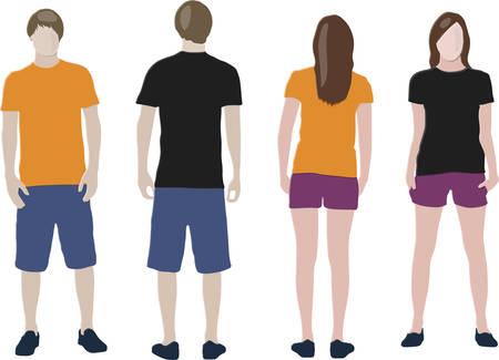 ふだん着: 黒、オレンジ色の t シャツ デザイン テンプレート (フロント & 戻って) 男性および女性モデル
