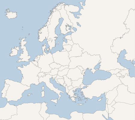 Map of European Countries in blue and grey tones Vector
