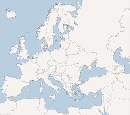 Mapa de países europeos en tonos azules y gris Ilustración de vector