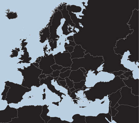 greece: Map of European Countries in blue and black tones Illustration