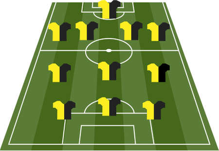 runing: Football soccer field pitch with player jerseys