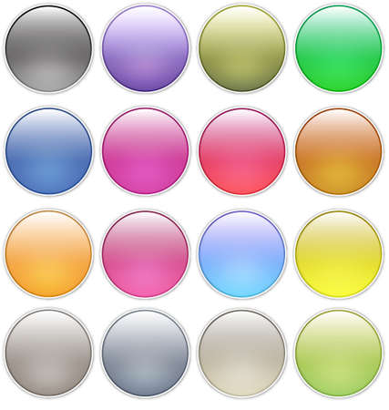 glossy web buttons icons Vector