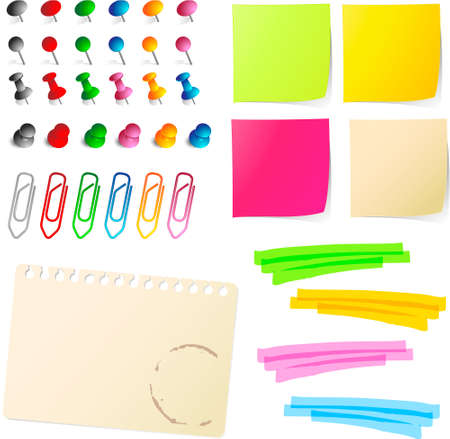 yellow sticky note: note papers  with pins and paper clips