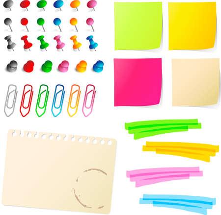Opmerking documenten met pennen en papier clips  Vector Illustratie