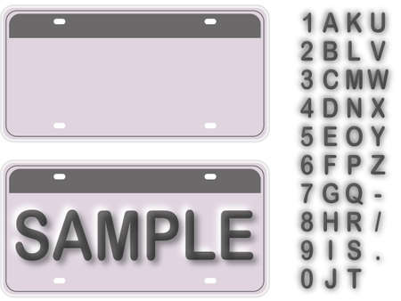 number plate: Empty License Plate With Editable Live Texts  Illustration