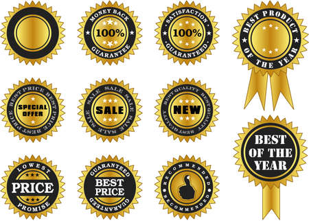 seal of approval: labels of various labels in gold