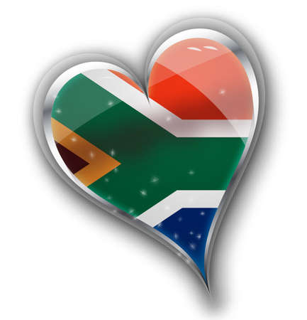 cape town: national flag of south africa in heart shape with additional details Illustration