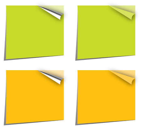 note papers in canary yellow and green with page curl Stock Vector - 7199151