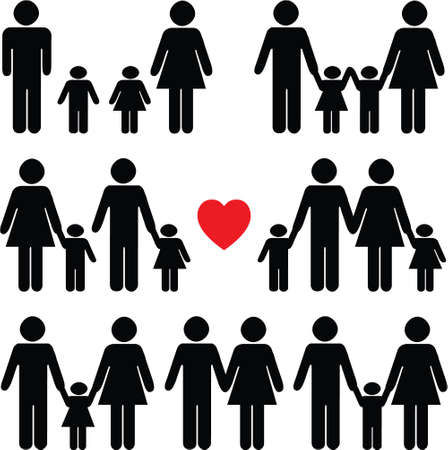 black family: Family life icon set in black with a red heart